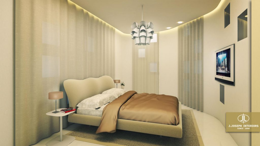 3d redering of a bedroom, with carpet, nice lighting and television.