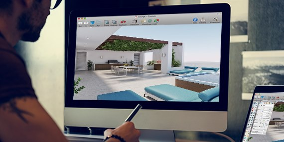 Interior Design studying a 3d rendering on Mac.