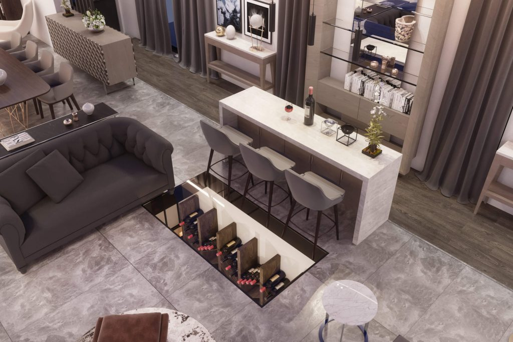3d redering showing a living room in natural colors