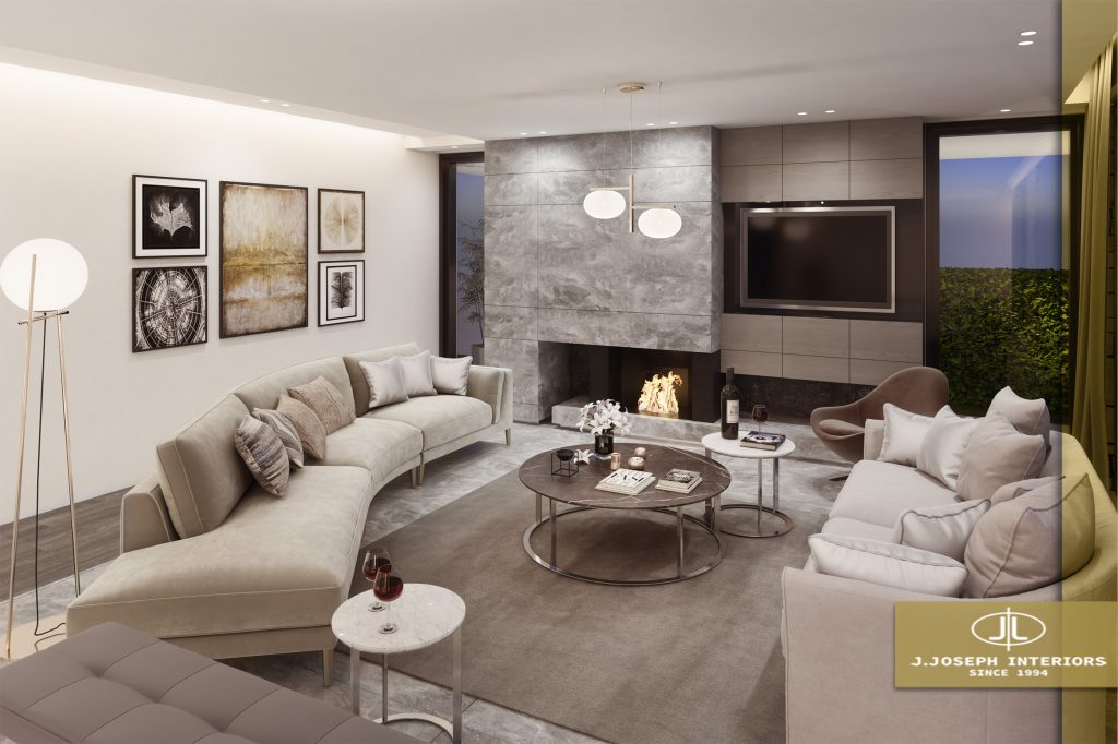 3d redering showing a big living room with coaches tables, fireplace, television and window.