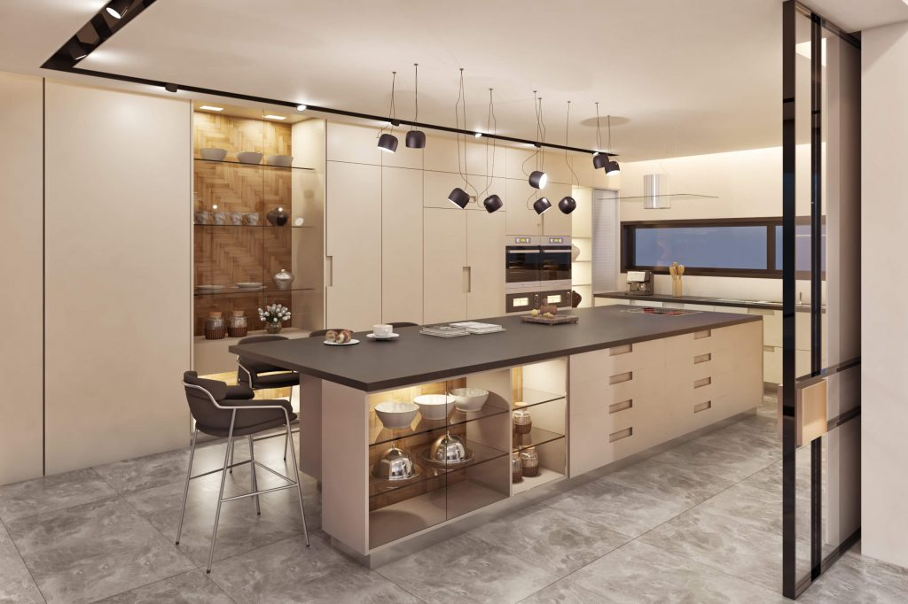 3d redering showing a kitchen with nice lightings