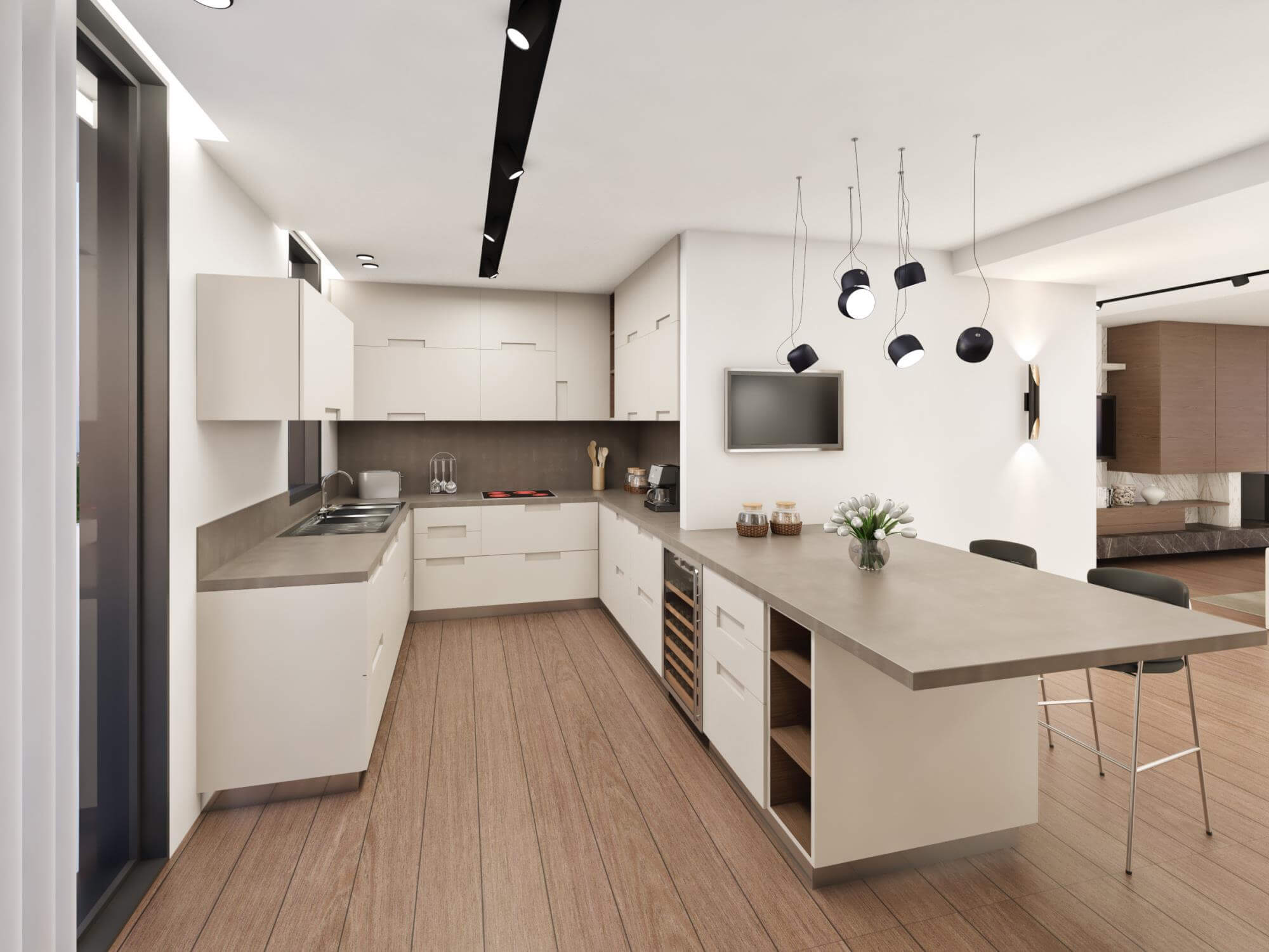 3d redering kitchen with chairs.