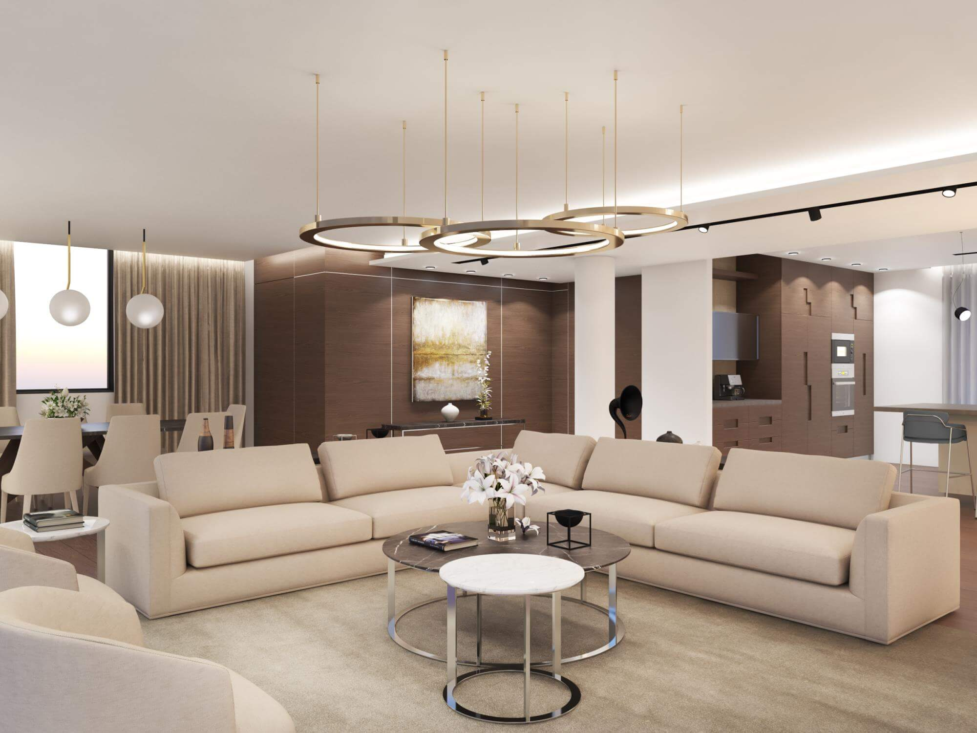 Living room in earth colours and wood materials