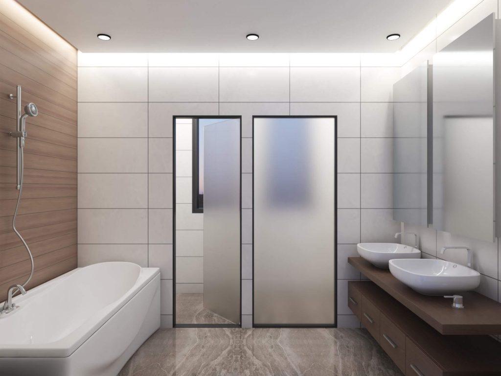 Bathroom with wooden washbasin base