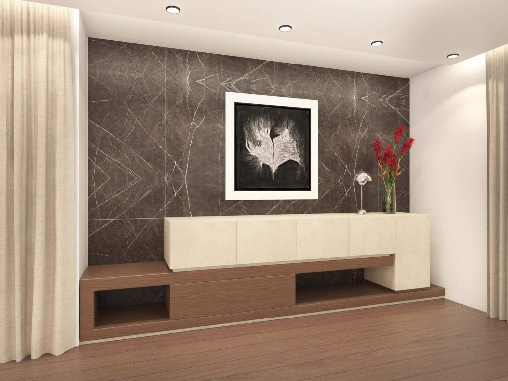 Wall with built-in wood flowers and painting.